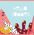 hello summer collage feminine banner vector image