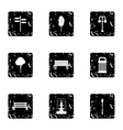 Holiday in park icons set grunge style vector image vector image