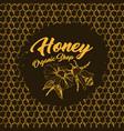 honey bee sketch logo design with honeycomb vector image