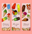 ice cream banner summer natural fresh and cold vector image vector image