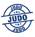 judo blue round grunge stamp vector image vector image