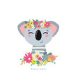 koala with flowers vector image vector image