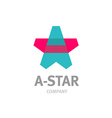 Letter A star shaped overlay logo template vector image