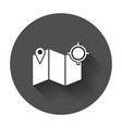 location icon pin with map flat icon with long vector image vector image
