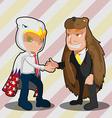 Mascot Business Man Eagle Bear Shake Hand vector image vector image