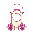 mason glass with wire handle and sticker vector image vector image