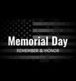 memorial day background usa flag on dark vector image vector image