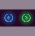 neon icon of blue and green sixth place vector image