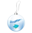 New Year Ball With Blue Fish In Water vector image