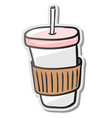 paper coffee cup sticker vector image vector image