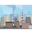 Plant factory on the city background Industrial vector image