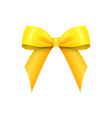 realistic shiny yellow satin bow isolated vector image vector image