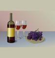 red wine wine bottle with two vector image vector image