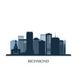 richmond skyline monochrome silhouette vector image vector image