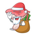 santa with gift russule mushroom mascot cartoon vector image vector image