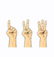 set of counting one two three hand sign vector image