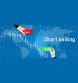 short selling stock in stocks market sell high buy vector image