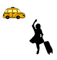 silhouette girl with suitcase catches taxi vector image