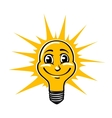 Smiling light bulb vector image