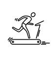 thin line icon treadmill running man cardio vector image vector image