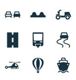 transport icons set with slippery way cargo ship vector image vector image