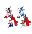 UK Flag Map Inner Shadow vector image vector image