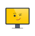 winking face on computer screen emoticon vector image vector image