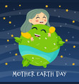 woman holding ecology world earth day happy girl vector image