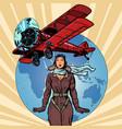woman pilot a vintage biplane airplane vector image vector image