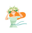 young beautiful redhead woman with flower wreath vector image vector image