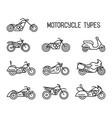 set of different types of mototechnics vector image