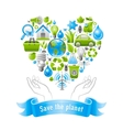 Ecological set with human hands and icons vector image