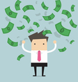 Businessman happy with a lot of banknote flowing vector image