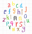 Child drawing of alphabet font made with wax crayo vector image