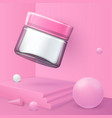 abstract scene with podium cosmetics jar vector image vector image