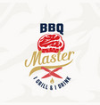 bbq master vintage label card emblem or vector image