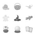 Black and white magic set icons in monochrome vector image vector image