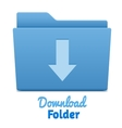 Blue download folder vector image