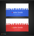 business card with people silhouette vector image vector image