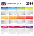 Calendar 2014 English Type 16 vector image vector image