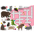 cartoon north america animals kids crossword vector image