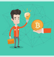 caucasian man getting bitcoin coin for start up vector image vector image