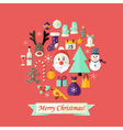 Christmas Card with Flat Icons Set and Santa Claus vector image vector image