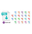 collection icons file format extensions vector image vector image