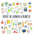 colored funny back to school supplies elements vector image vector image