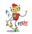 cool funny robot skating on skateboard vector image