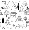 Country landscape seamless pattern caucasus