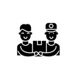 courier service black icon sign on vector image
