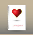 cover of diary red jewelry heart symbol vector image vector image