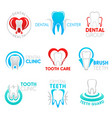 dental clinic and dentistry symbol with tooth vector image vector image